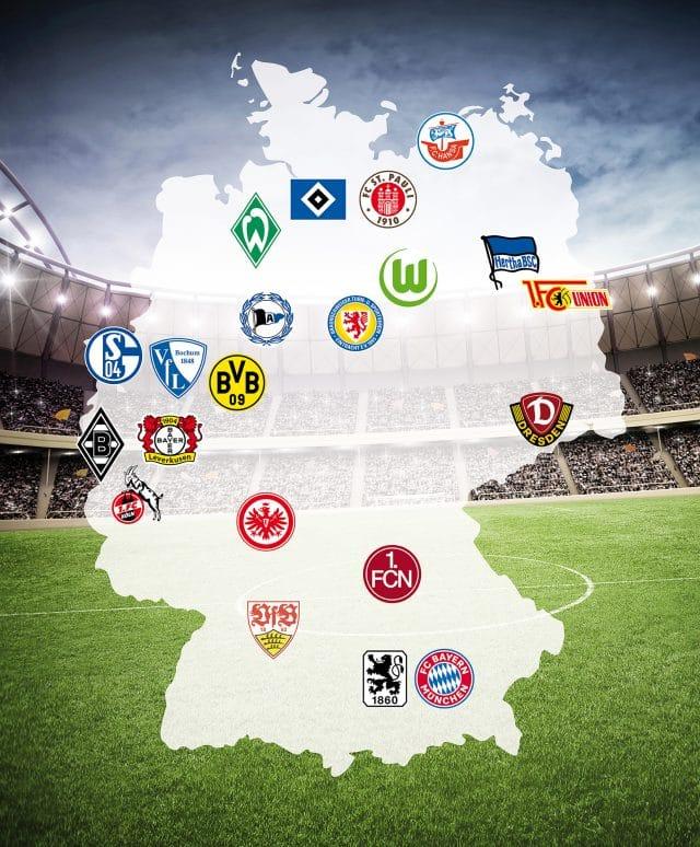 Schematisierte Deutschlandkarte mit den Logos der zwanzig Fußballvereine, die bei Lernort Stadion dabei sind.