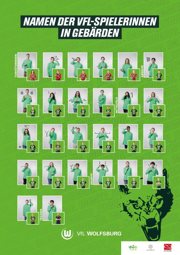 Plakat mit den Namen der VFL-Wolfsburg Spielerinnen in Gebärden