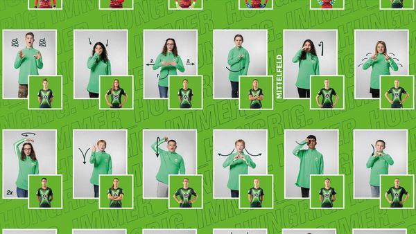 Ausschnitt vom Plakat der Namen der VfL Wolfsburg Spielerinnen in Gebärden
